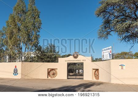 WINDHOEK NAMIBIA - JUNE 15 2017: The premises of the Voortrekkers a youth movement similar to the Boy Scouts and Girl Guides in Eros a suburb of Windhoek the capital city of Namibia