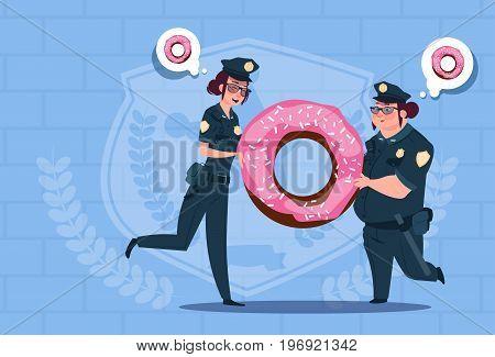 Two Police Women Holding Donut Wearing Uniform Female Guards On Blue Bricks Background Flat Vector Illustration