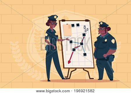 Two African American Police Women Planning Action On White Board Wearing Uniform Female Guards On Blue Bricks Background Flat Vector Illustration
