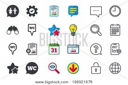 WC Toilet pointer icons. Gents and ladies room signs. Man and woman speech bubble symbols. Chat, Report and Calendar signs. Stars, Statistics and Download icons. Question, Clock and Globe. Vector