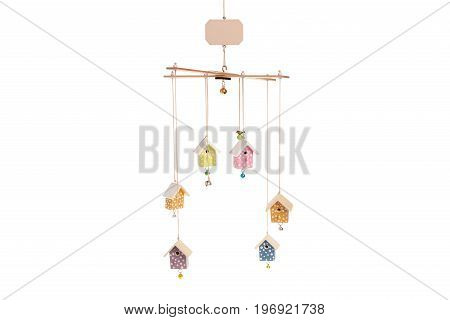 Baby mobile houses on white background isolation