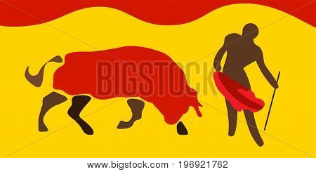 Vector illustration for traditional spanish corrida. Bull and toreador or matador on the arena or plaza. Bullfight as one of the symbols of Spain.
