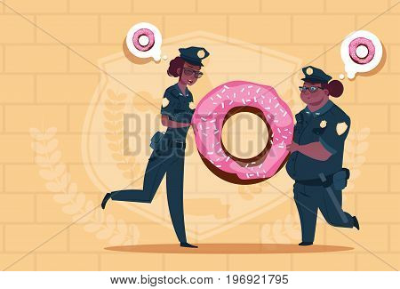 Two African American Police Women Holding Donut Wearing Uniform Female Guards On Blue Bricks Background Flat Vector Illustration