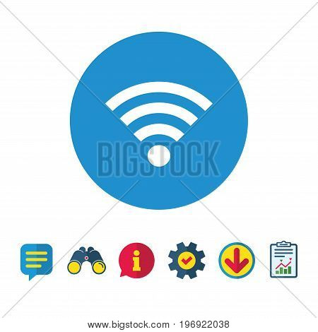 Wifi sign. Wi-fi symbol. Wireless Network icon. Wifi zone. Information, Report and Speech bubble signs. Binoculars, Service and Download icons. Vector