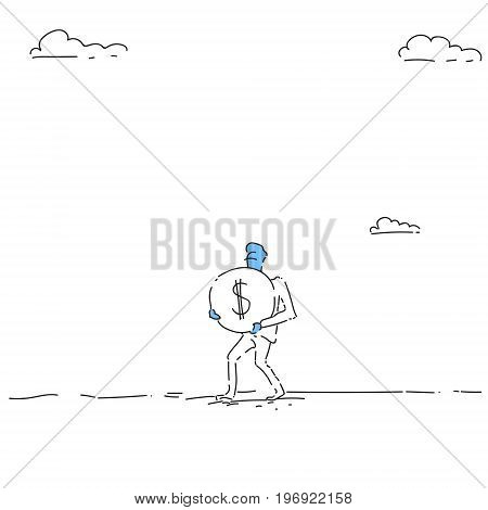 Rich Business Man Carry Coin With Dollar Sign Money Growth Concept Finance Success Vector Illustration
