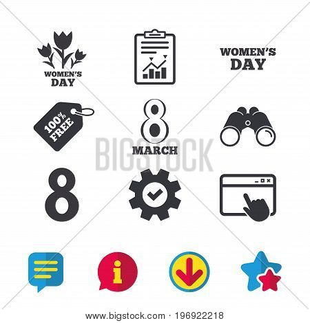 8 March Women's Day icons. Tulips or rose flowers bouquet sign symbols. Browser window, Report and Service signs. Binoculars, Information and Download icons. Stars and Chat. Vector