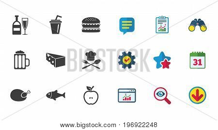 Food, drink icons. Beer, fish and burger signs. Chicken, cheese and apple symbols. Calendar, Report and Download signs. Stars, Service and Search icons. Statistics, Binoculars and Chat. Vector