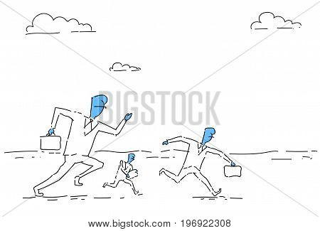 Businesspeople Group Running, Business Competition Concept Vector Illustration