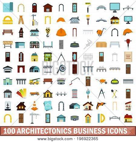 100 architectonics business icons set in flat style for any design vector illustration