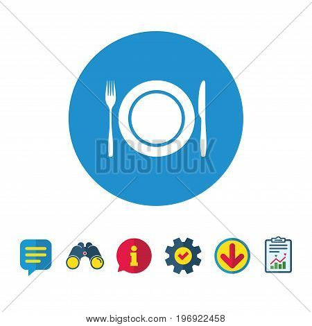 Plate dish with fork and knife. Eat sign icon. Cutlery etiquette rules symbol. Information, Report and Speech bubble signs. Binoculars, Service and Download icons. Vector
