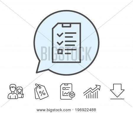 Checklist Document line icon. Information File sign. Paper page concept symbol. Report, Sale Coupons and Chart line signs. Download, Group icons. Editable stroke. Vector