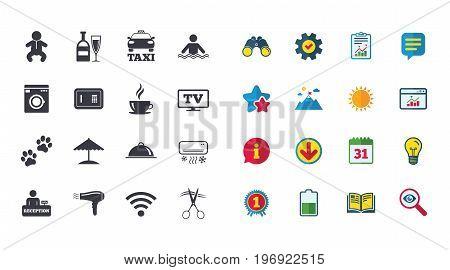 Set of Hotel services icons. Taxi, Wifi internet and Swimming pool signs. Coffee, Wine bottle and Air conditioning symbols. Calendar, Report and Browser window signs. Stars, Service and Download icons