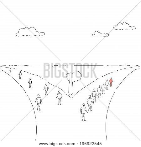 Group Of Business People Walking On Rad Direction Choosing Concept Vector Illustration