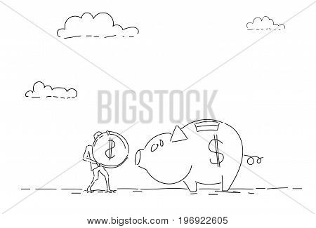 Business Man Put Coin Piggy Bank Money Investment Concept Vector Illustration