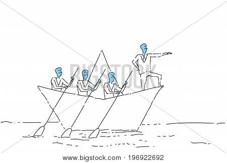 Businessman Leading Business People Team Swim In Paper Boat Teamwork Leadership Concept Vector Illustration