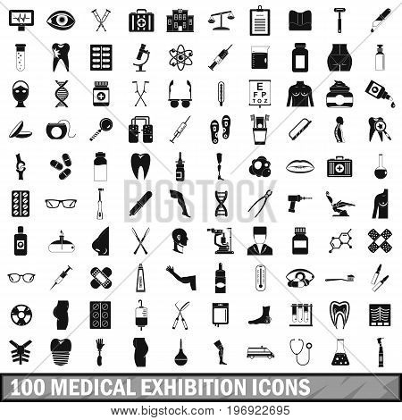 100 medical exhibition icons set in simple style for any design vector illustration