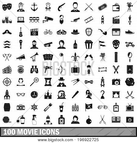 100 movie icons set in simple style for any design vector illustration
