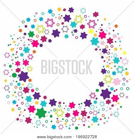 Round frame with stars David. jewish Holidays Border for your design. Vector illustration, clip art