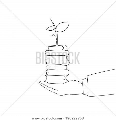 Business Man Hand Holding Plant On Books Stack Environmental Protection Growth Concept Vector Illustration