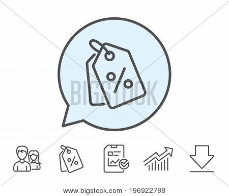 Shopping tags line icon. Special offer sign. Discount coupons symbol. Report, Sale Coupons and Chart line signs. Download, Group icons. Editable stroke. Vector