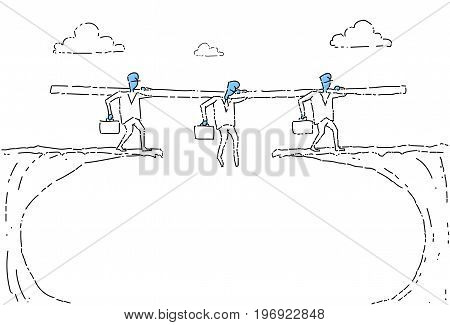 Business People Group Walk Over Cliff Gap Businesspeople Team Risking Vector Illustration