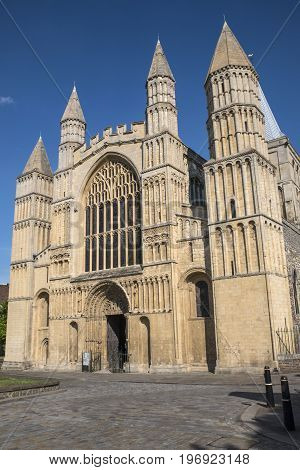 A view of the entrance to the historic Rochester Cathedral in the UK.