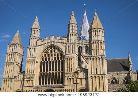 The magnificent facade of Rochester Cathedral in Kent UK.