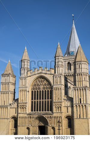The magnificent facade of the historic Rochester Cathedral in Kent UK.
