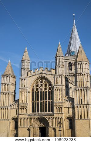 A view of the magnificent facade of Rochester Cathedral in Kent UK.