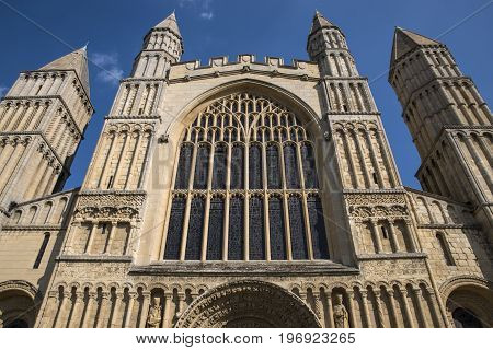 The magnificent facade of Rochester Cathedral in the historic catehdral city of Rochester in Kent UK.