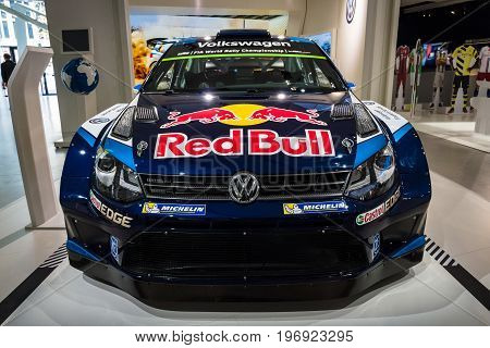 BERLIN - MAY 02 2015: Showroom. Sports car Volkswagen Polo R WRC. Produced since 2015.