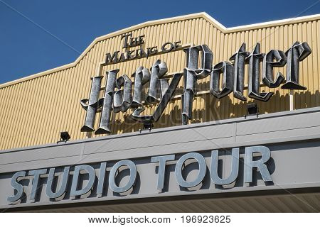 LEAVESDEN UK - JUNE 19TH 2017: The sign above the main entrance to the Making of Harry Potter tour at Warner Bros studio in Leavesden UK on 19th June 2017.