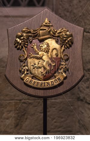LEAVESDEN UK - JUNE 19TH 2017: The Gryffindor coat of arms on the set of the Great Hall at Hogwarts at the Making of Harry Potter studio tour at the Warner Bros studios in Leavesden UK on 19th June 2017.