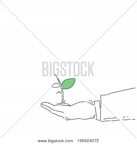 Business Man Hand Holding Plant Environmental Protection Growth Concept Vector Illustration