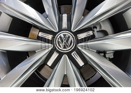 BERLIN - MAY 02 2015: Showroom. Wheels and braking system of a popular light commercial vehicle Volkswagen Transporter (T5). Produced since 2010.