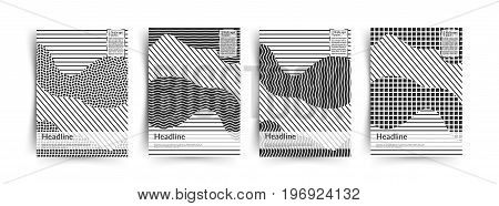 Abstract black and white Placards collection. Memphis pattern, covers set. Retro art for covers, banners, flyers and posters. Esp10 vector illustration.