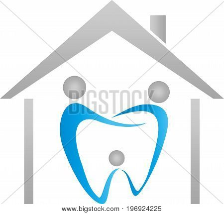 Three people as a tooth and house, dentist and family dentist logo