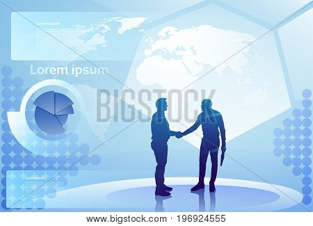Two Silhouette Businessman Hand Shake Over Abstract Finance Diagram Background, Business Man Handshake Agreement Concept Vector Illustration