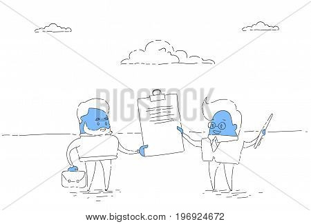 Two Businessman Hold Contract Signing Up, Business Man Deal Successful Agreement Concept Vector Illustration