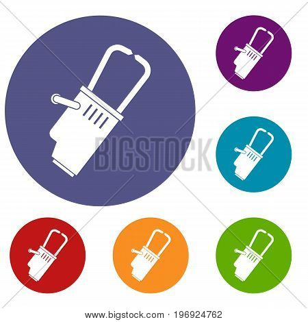 Welding equipment icons set in flat circle red, blue and green color for web