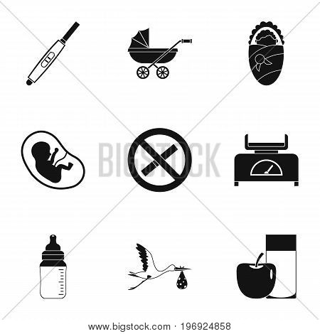 Baby ambulance icons set. Simple set of 9 baby ambulance vector icons for web isolated on white background