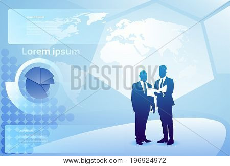Two Silhouette Businessman Talking Discussing Document Report Over Finance Diagram, Business Man Meeting Concept Vector Illustration