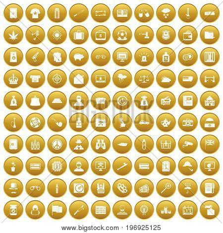100 police icons set in gold circle isolated on white vector illustration