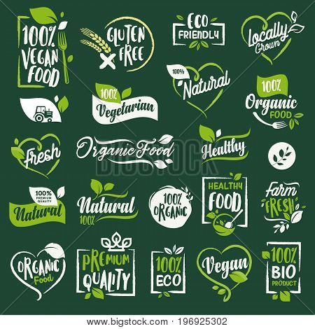 Set of signs and elements for organic food and drink, restaurant, food store, natural products, farm fresh food,  e-commerce, healthy product promotion.