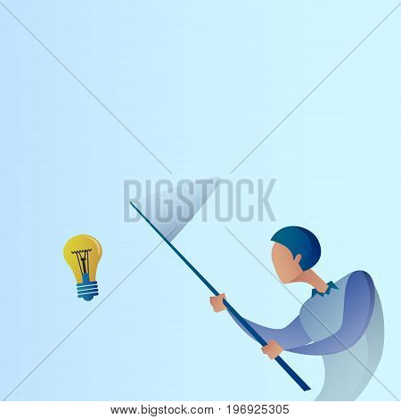 Abstract Business Man Catch Light Bulb With Butterfly Net New Creative Idea Concept Vector Illustration