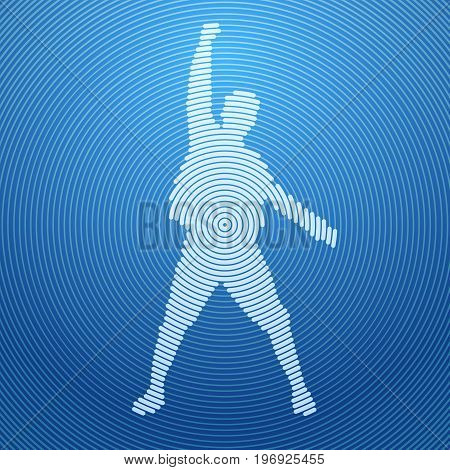 Abstract Man Silhouette Excited Hold Hands Up Raised Arms, Concept Winner Success Vector Illustration