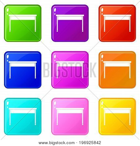 Desk icons of 9 color set isolated vector illustration