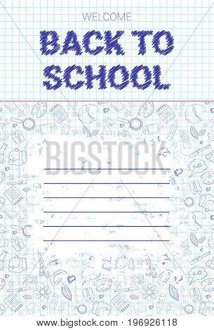 Back To School Doodle Label Hand Drawn On White Paper Background Vector Illustration