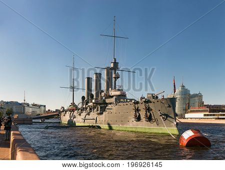 St. Petersburg Russia - 28 June 2017: cruiser Aurora ship museum in St Petersburg
