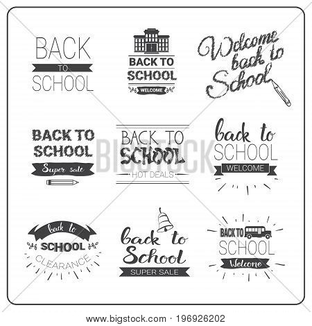 Back To School Logos Set Doodle Hand Drawn Label Collection Vector Illustration